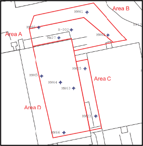 Site Map with Injection Areas (Note: downgradient Area E, well MW-9B, not shown)